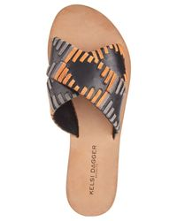 Kelsi Dagger Brooklyn - Black Crown Flat Sandals - Lyst