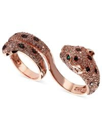 Effy Collection | White (1-3/4 Ct. T.w.) And Black Diamond (1/8 Ct. T.w.) And Emerald Accent Panther 2 Finger Ring In 14k Rose Gold | Lyst