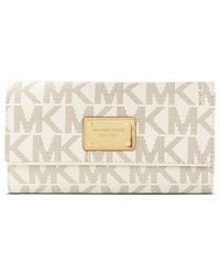 Michael Kors | White Michael Mk Logo Checkbook Wallet | Lyst