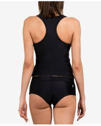 Volcom - Black Simply Solid Racerback Tankini Top - Lyst