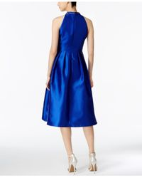 Adrianna Papell - Blue Embellished Mikado Party Dress - Lyst