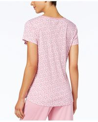 Charter Club - Pink Printed Cotton Knit Pajama T-shirt - Lyst