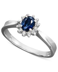 Macy's - Blue 14k White Gold Ring, Sapphire (3/8 Ct. T.w.) And Diamond (1/8 Ct. T.w.) Oval Ring - Lyst