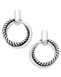 Lauren by Ralph Lauren | Metallic Silver-tone Small Twisted Link Drop Hoop Earrings | Lyst