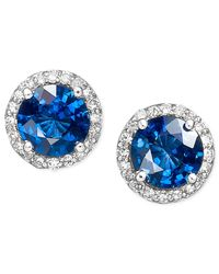 Effy Collection   Blue Velvet Bleu By Effy Diffused Sapphire (2 Ct. T.w.) And Diamond (1/5 Ct. T.w.) Circle Stud Earrings In 14k White Gold   Lyst