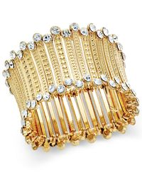 INC International Concepts - Metallic Gold-tone Crystal-trim Stretch Cuff Bracelet - Lyst