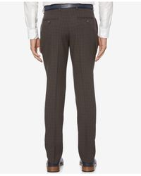 Perry Ellis - Gray Men's Slim-fit Mechanical Stretch Tonal Plaid Pants for Men - Lyst
