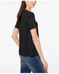 Eileen Fisher - Black Soft V-neck T-shirt - Lyst