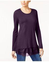 Style & Co. - Purple Mixed-media Tunic Sweater - Lyst