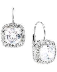 Danori | Metallic Earrings, Silver-tone Framed Cushion Cut Cubic Zirconia Leverback Earrings (6 Ct. T.w.) | Lyst
