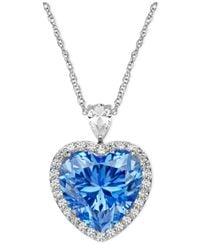 Arabella - Metallic Sterling Silver Necklace, Blue And White Swarovski Zirconia Heart Pendant (19-5/8 Ct. T.w.) - Lyst