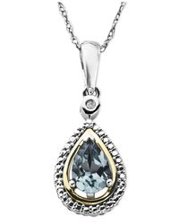 Macy's | Metallic 14k Gold And Sterling Silver Necklace, Aquamarine (5/8 Ct. T.w.) And Diamond Accent Teardrop Pendant | Lyst