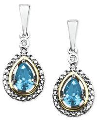 Macy's - Metallic 14k Gold And Sterling Silver Earrings, Blue Topaz (1 Ct. T.w.) And Diamond Accent Teardrop Earrings - Lyst