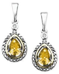 Macy's | Multicolor 14k Gold And Sterling Silver Earrings, Citrine (3/4 Ct. T.w.) And Diamond Accent Teardrop Earrings | Lyst