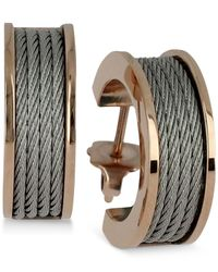 Charriol - Multicolor Women's Forever Silver-tone And Rose Gold-tone Pvd Stainless Steel Cable Hoop Earrings - Lyst