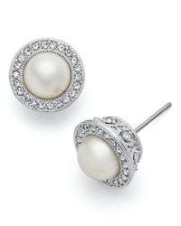 Danori | Metallic Earrings, Framed Simulated Pearl Stud Earrings | Lyst