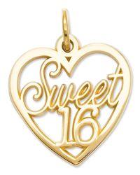 Macy's | Metallic 14k Gold Charm, Sweet 16 Heart Charm | Lyst