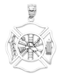 Macy's - Multicolor 14k White Gold Charm, Fireman Shield Charm - Lyst