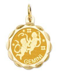 Macy's | Metallic 14k Gold Charm, Engraveable Gemini Zodiac Disc Charm | Lyst