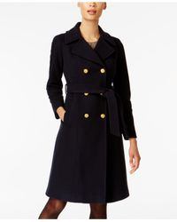 Anne Klein - Blue Double-breasted Belted Trench Coat - Lyst