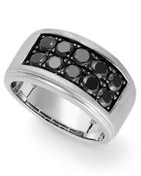 Macy's - Metallic Men's Sterling Silver Ring, Black Sapphire Two-row Ring (1-1/2 Ct. T.w.) for Men - Lyst