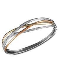 Effy Collection | Metallic Trio By Effy Diamond Crossover Bangle (1 Ct. T.w.) In 14k White Gold, 14k Gold And 14k Rose Gold | Lyst