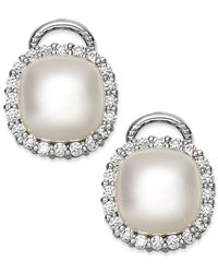 Majorica - Metallic Sterling Silver Organic Man-made Pearl And Cubic Zirconia Stud Earrings - Lyst