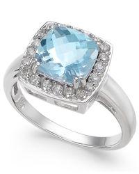 Macy's - Multicolor Aquamarine (2 Ct. T.w.) & Diamond (1/3 Ct. T.w.) Ring In 14k White Gold - Lyst