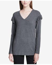 Calvin Klein - Gray Ruffled V-neck Sweater - Lyst