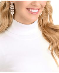 Swarovski - Pink Rose Gold-tone Crystal & Pavé Drop Earrings - Lyst