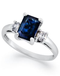 Macy's - Blue 14k White Gold Ring, Sapphire (1-1/10 Ct. T.w.) And Diamond (1/5 Ct. T.w.) 3-stone Ring - Lyst