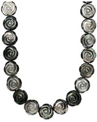 Macy's | Black Sterling Silver Necklace, Cultured Tahitian Mother Of Pearl Flower Necklace | Lyst