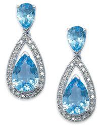 Macy's   Metallic Sterling Silver Earrings, Blue Topaz (6-1/2 Ct. T.w.) And Diamond (1/5 Ct. T.w.) Pear Drop Earrings   Lyst