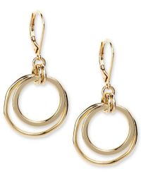 Anne Klein | Metallic Earrings, Gold-tone Orbital Fish Hook Earrings | Lyst
