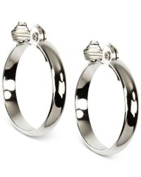 Anne Klein | Metallic Silver-tone Wide Hoop Earrings | Lyst