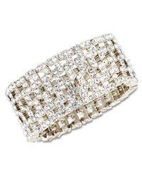 Anne Klein | Multicolor Silver-tone Crystal Stretch Cuff Bracelet | Lyst
