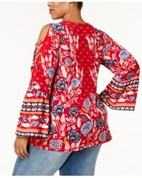 Style & Co. - Red Plus Size Mixed-print Cold-shoulder Top - Lyst