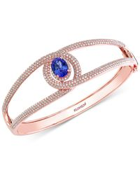 Effy Collection - Multicolor Tanzanite (1-3/4 Ct. T.w.) And Diamond (2 Ct. T.w.) Bangle Bracelet In 14k Rose Gold - Lyst