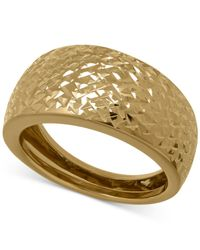 Macy's - Brown X-cut Wide Band Ring In 14k Gold - Lyst
