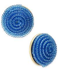 Kate Spade - Blue Gold-tone Beaded Button Stud Earrings - Lyst