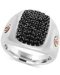 Effy Collection | Metallic Men's Black Sapphire Cluster Ring (1-3/8 Ct. T.w.) In Sterling Silver And 18k Rose Gold for Men | Lyst