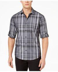 Alfani Black Men's Plaid Shirt for men