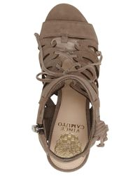 Vince Camuto - Brown Ranata Leather Lace Up Stacked Block Heel Sandals - Lyst
