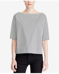 Polo Ralph Lauren - Gray Cotton Blouse - Lyst
