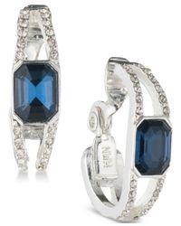 Anne Klein - Metallic Silver-tone Blue & Clear Crystal Clip-on Hoop Earrings - Lyst