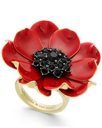 Kate Spade | Red 14k Gold-plated Enamel And Stone Poppy Ring | Lyst