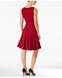 Calvin Klein - Brown Dress, Sleeveless Pleated A-line - Lyst