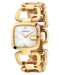 Gucci   Metallic Watch, Women's Swiss G- Diamond Accent Yellow Gold Pvd Stainless Steel Bracelet 24x22mm Ya125513   Lyst