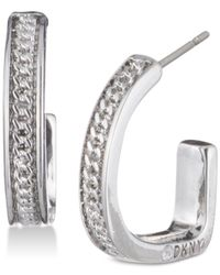 DKNY - Multicolor Chain Textured Hoop Earrings - Lyst