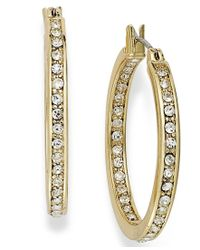 Charter Club - Metallic Gold-tone In/out Crystal Hoop Earrings - Lyst
